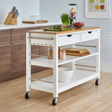 Load image into Gallery viewer, Kitchen Island w/ Drawers | White & Bamboo