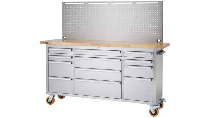 Stainless Steel Rolling Workbench | Pegboard