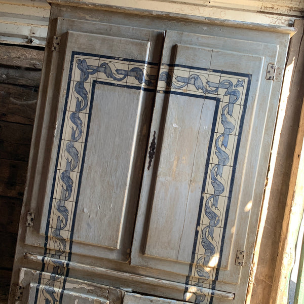 Antique Hand Painted Linen Press