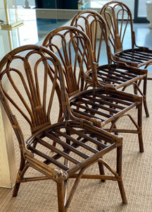 Vintage Bamboo Dining Chairs x 4
