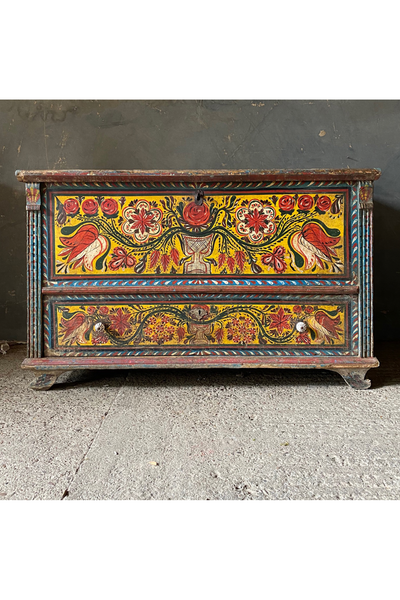 Transylvanian Folk Painted Dowry Box With Drawer