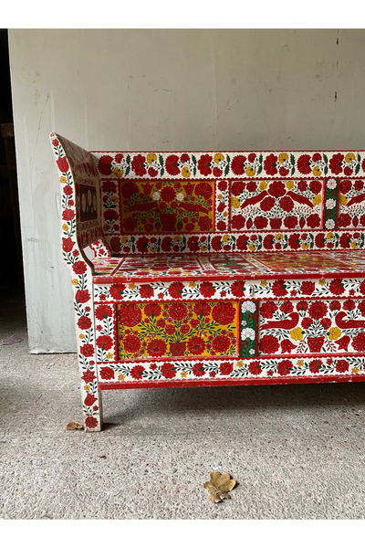 Mid-20th Century Transylvanian Painted Marriage Bench