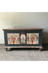 Antique Bavarian Marriage Box With St Barbara