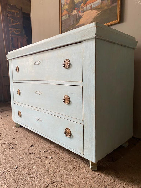 Antique Pine Commode in Nordic Blue