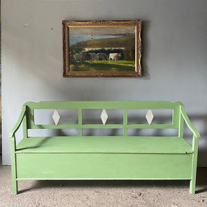 Antique Box Bench In Pale Green & Grey