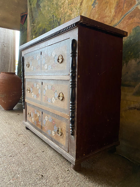 Antique Folk Painted Chest Of Drawers
