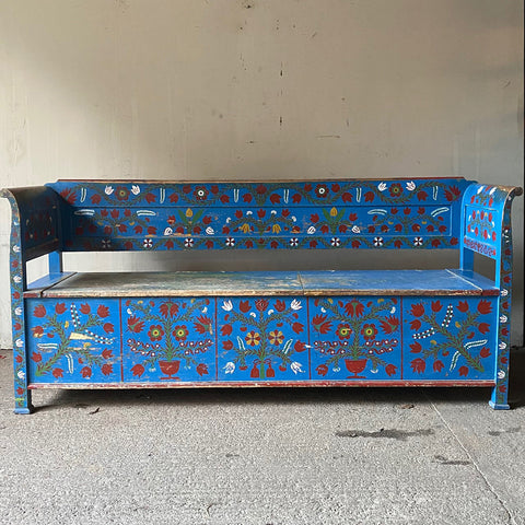 Antique Marriage Bench With Folk Art Decoration