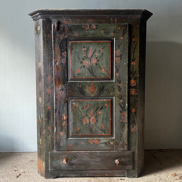 Antique Marriage Cupboard With Birds & Heart