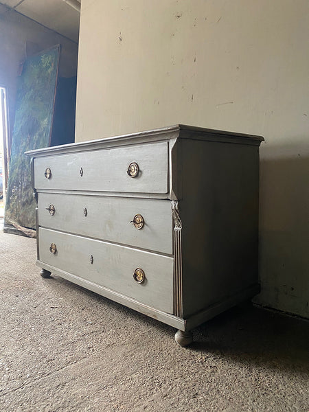 Antique Neo-Classical Pine Commode In Mid-Grey