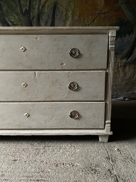 Antique Pine Commode In Gustavian White