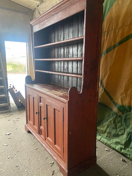 Antique Pine Dresser With Panelled Front & Rope Twist Moulding In Original Paint