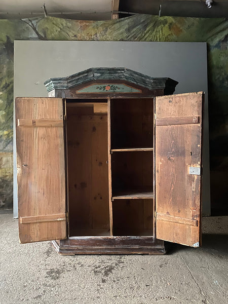 Antique Pine Marriage Cupboard With Roses In Blue & Brown