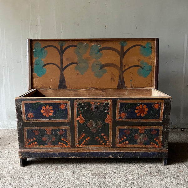 "Antique ""Saxon"" Marriage Chest With Folk Painting"