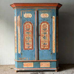 Marriage Cupboard In Powder Blue, Red & White