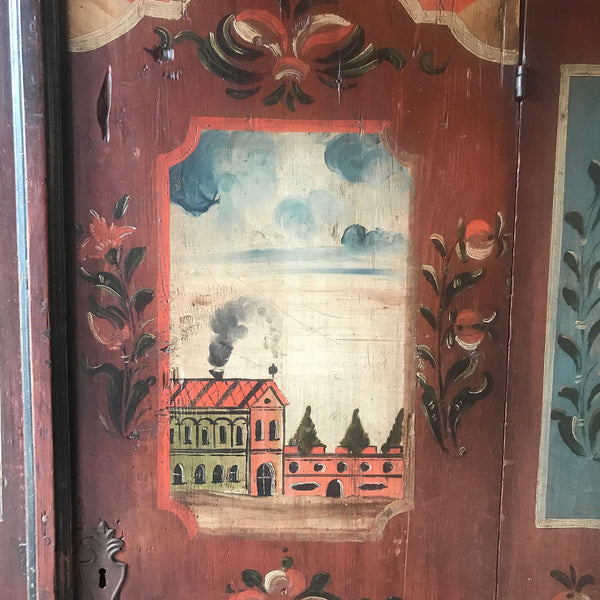 Exceptional Painted Folk Art Marriage Cupboard