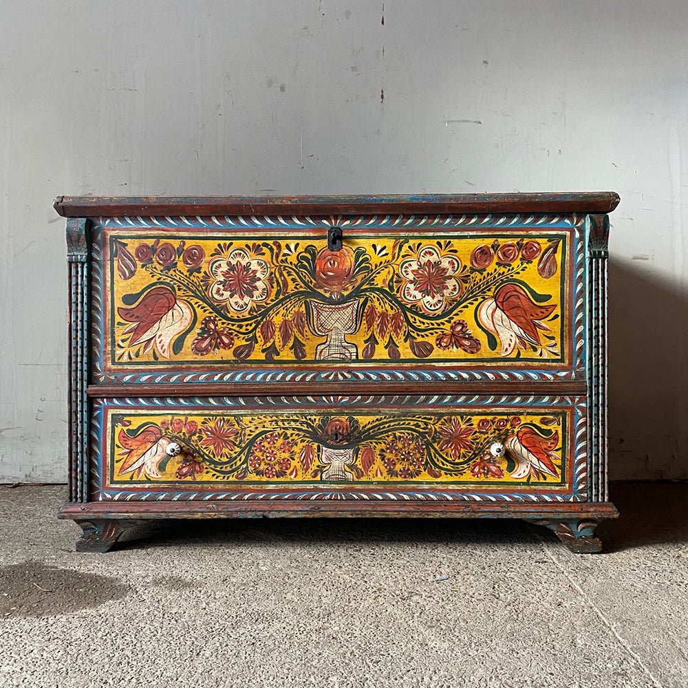 Folk Painted Antique Dowry Box
