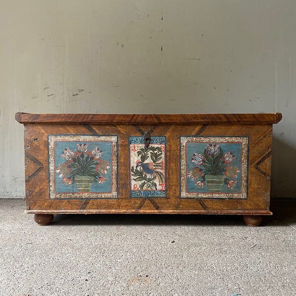 Folk Painted Dowry Coffer With Blue Peacock