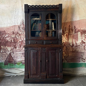 Gothic Revival Pine Bookcase In Original Paint