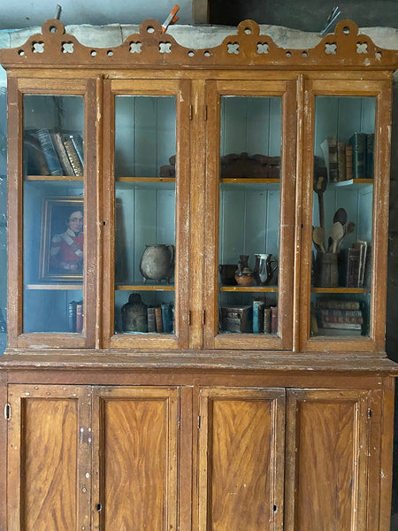 Irish Country House Bookcase Or Glazed Dresser In Original Paint