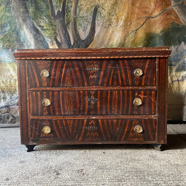 Large Antique Pine Chest In Original Grain Paint