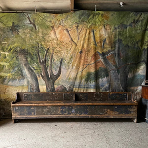 Long Marriage Bench In Original Folk Painting