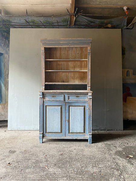 Open Pine Dresser In Original Blue Paint