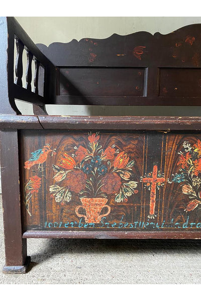 Rare Marriage Bench With Folk Painting