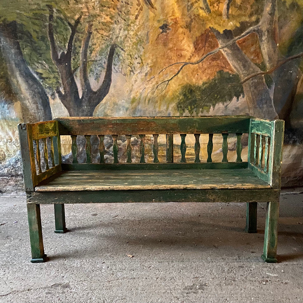 Small Rustic Carved Peasant Bench In Original Green Paint