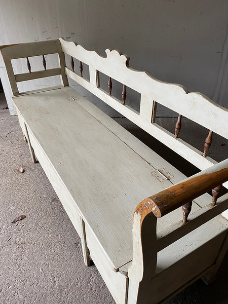 Antique Pine Box/Bed Settle In Old White