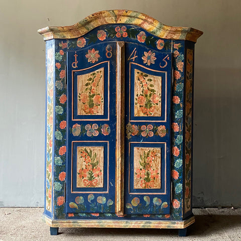 Folk Painted Marriage Cupboard