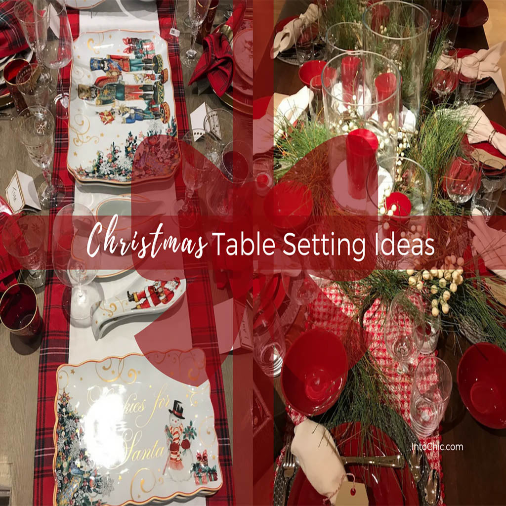 Christmas table setting in the back of the pic. Tones red and white. There is a ribbon cover the photo like a gift and in white letters said Christmas table settings