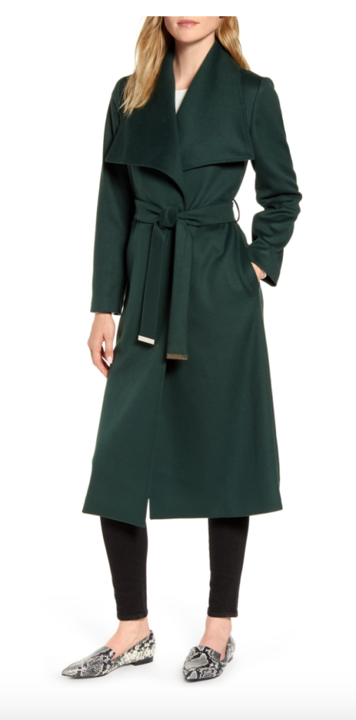 Wide Collar wrap dark green coat by Ted Baker London. Long coat