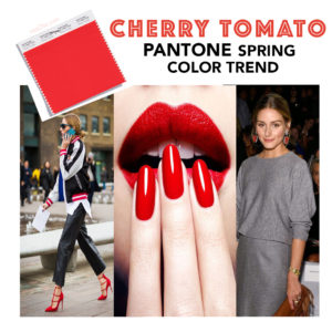 Collage of there photos related of the color cherry tomato by pantone