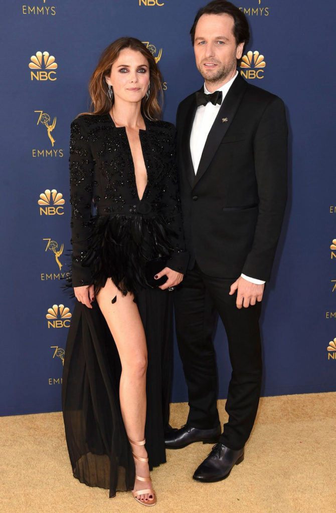Matthew Rhys and Keri Russell emmy 2018 wearing a Black dress by Zuhair Murad, Terry Ellis clutch and Stephen Webster jewelry.