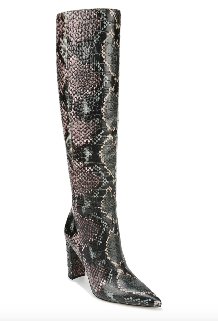 knee-high winter-green boot design by Sam Edelman with a pointy toe and high block heel.