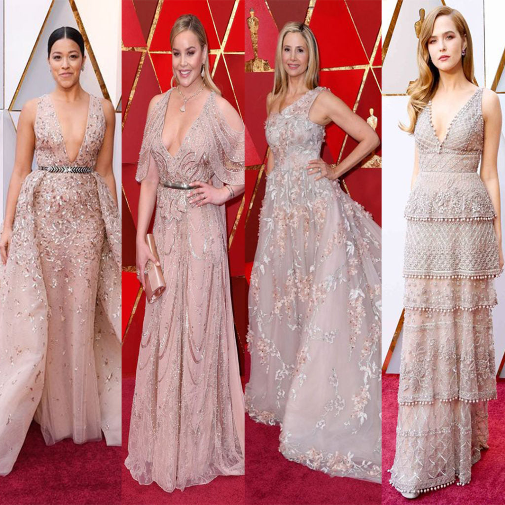 Gina Rodriguez, Abbie Cornish, Mira Sorvino at the red carpet oscars 2018. Wearing Nude color dresses