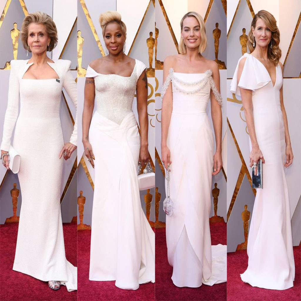 Best white dresses at the oscars. Jane Fonda in Balmain, Mary J. Blige in Atelier Versace, Margot Robbie in Chanel Haute Couture and Laura Dern in Kelvin Klein.