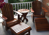 Treated Caramel Clear Cedar Royal Complete Patio Set 2 Adirondack Royal Chairs, 2 Royal Adirondack Footstools Ottomans and 1 Adirondack Round Table