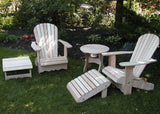 "Unstained Clear Cedar Royal Complete Patio Set 2 Adirondack Royal Chairs, 2 Royal Adirondack Footstools Ottomans and 1 Adirondack 24"" Round Table"