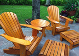 Treated Light Clear Cedar Royal Complete Patio Set 2 Adirondack Royal Chairs, 2 Royal Adirondack Footstools Ottomans and 1 Adirondack Round Table