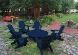 blue Adirondack chair set with coffee table