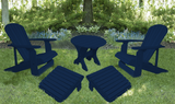 Patriot Blue Poly-Luxe 100% Recycled Plastic Royal Complete Patio Set 2 Adirondack Royal Chairs, 2 Royal Adirondack Footstools Ottomans and 1 Adirondack Round Table