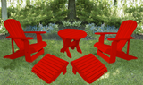 Red Poly-Luxe 100% Recycled Plastic Royal Complete Patio Set 2 Adirondack Royal Chairs, 2 Royal Adirondack Footstools Ottomans and 1 Adirondack Round Table
