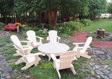 white Adirondack chair set with coffee table