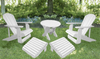 White Poly-Luxe 100% Recycled Plastic Royal Complete Patio Set 2 Adirondack Royal Chairs, 2 Royal Adirondack Footstools Ottomans and 1 Adirondack Round Table