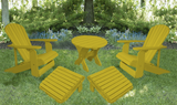 Lemon Yellow Poly-Luxe 100% Recycled Plastic Royal Complete Patio Set 2 Adirondack Royal Chairs, 2 Royal Adirondack Footstools Ottomans and 1 Adirondack Round Table