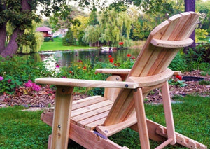 Unstained Knotted Cedar 4-Position Adjustable Reclining Adirondack Chair
