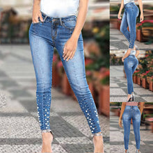 Load image into Gallery viewer, dropshipping women ladies pearls skinny jeans - YR.SOOQ