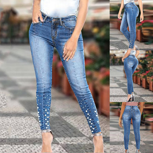 dropshipping women ladies pearls skinny jeans - YR.SOOQ