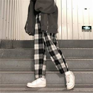 dropshipping women ladies harajuku plaid pants trousers - YR.SOOQ